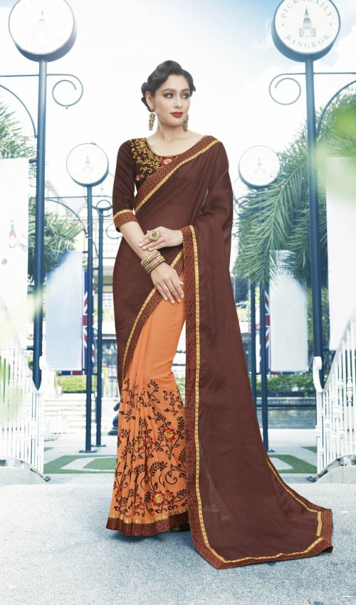 Georgette and embroidery work saree nsc-719