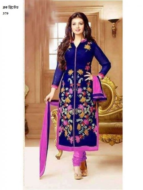 unstiched block printed cotton replica three pcs salwar kameez seblock-379