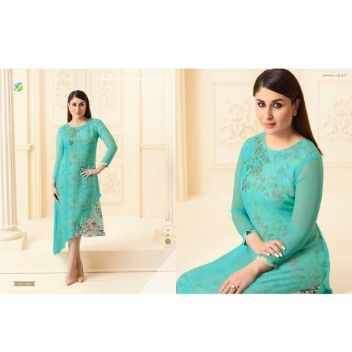 Double Layered Kurti in deep sky blue KURTI-33814