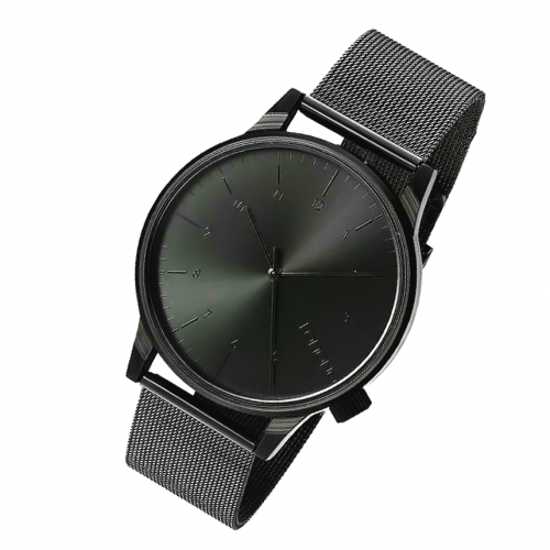 Komono Pure Black Dial With Black Chain Wrist Watch
