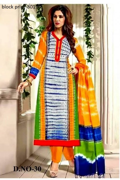 Unstiched block printed cotton replica salwar kameez seblock-8019