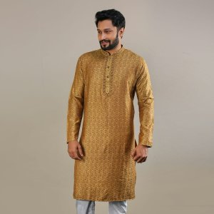 Men's Semi Long Panjabi - 17 - Golden Brown
