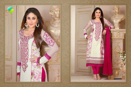 Kareena Kapoor In White & Rose Pink Georgette Salwar kameez with Embriodery and Lace Work