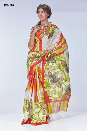 Boishakhi Cotton kota handprint Saree Bois-107