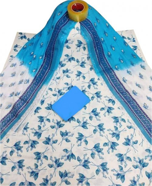 Latest white and sky blue Skin Printed 3 piece Salwar Kameez for Women