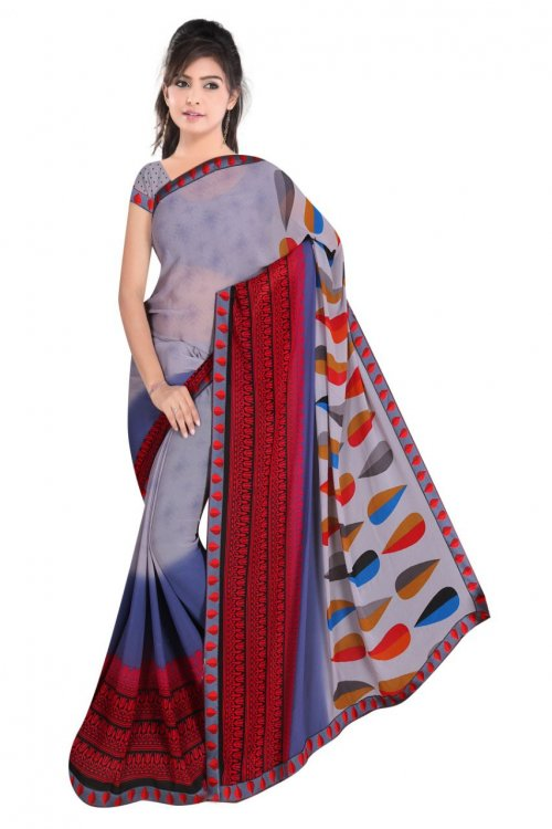 Indian Multi Color Silk Printed saree For women