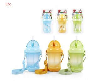 Baby straw cup child plastic leak-proof water bottle
