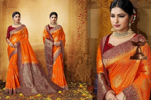 Orange,marron and Golden Embroidery Work Katan Saree For Women