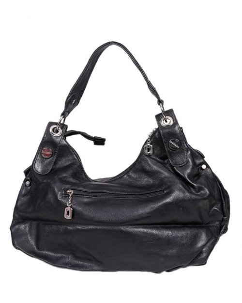 Leather Shoulder Bag - Black sl44