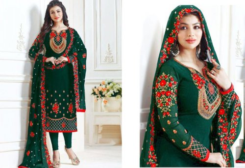 Ayesha Takia Semi stitched Straight Cut Salwar Suits Green