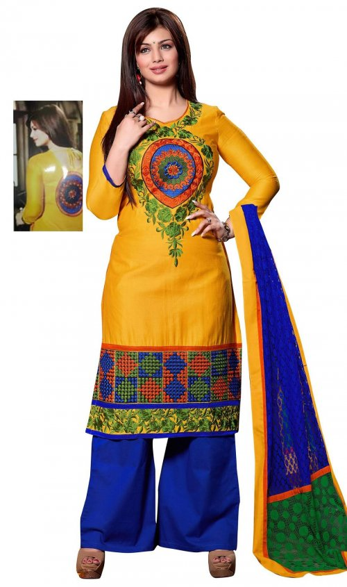 Unstitched block printed Salwar Kameez