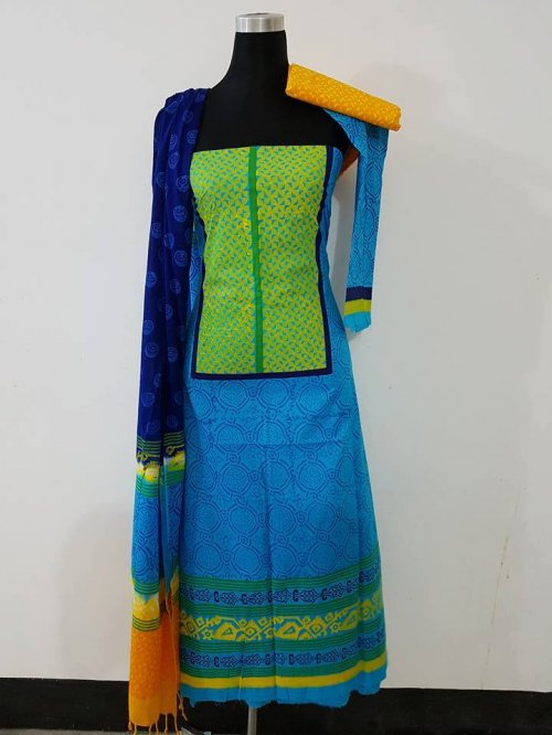 unstiched block printed cotton replica three pcs salwar kameez seblock-558