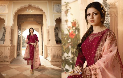 Pure Dola Jacquard With Embroidery Suit