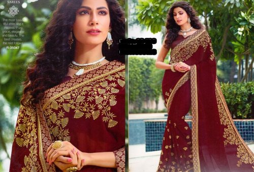 Georgette and embroidery work saree ssc-729