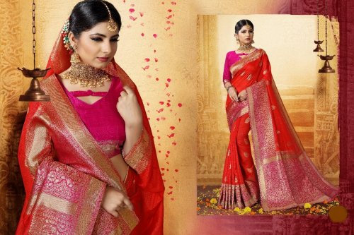 Red,Pink and Golden Embroidery Work Katan Saree For Women