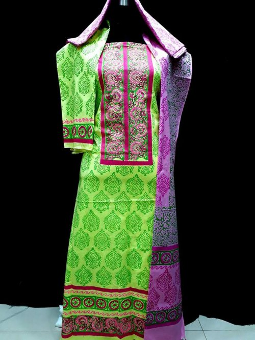 unstiched block printed cotton replica three pcs salwar kameez seblock-514