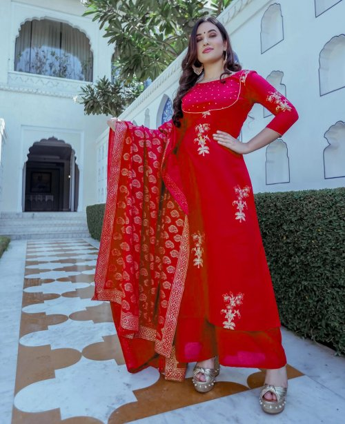 Latest Red Block Printed Salwar Kameez for Women-free size