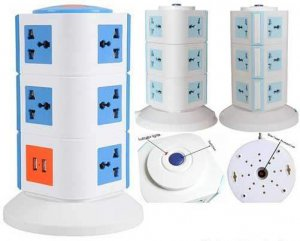 TOWER MULTIPLUG WITH 2 USB PORT FOR CHARGING (3 LEVEL)