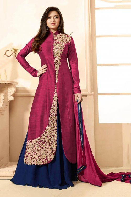 Drashti Dhami Chanderi And Party Wear Lehenga Suit In Maroon Colour