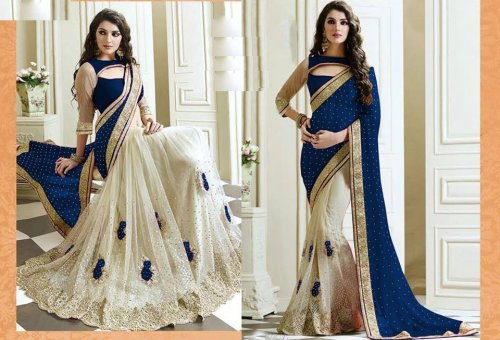 Weight Less Georgette saree SS-579-blue