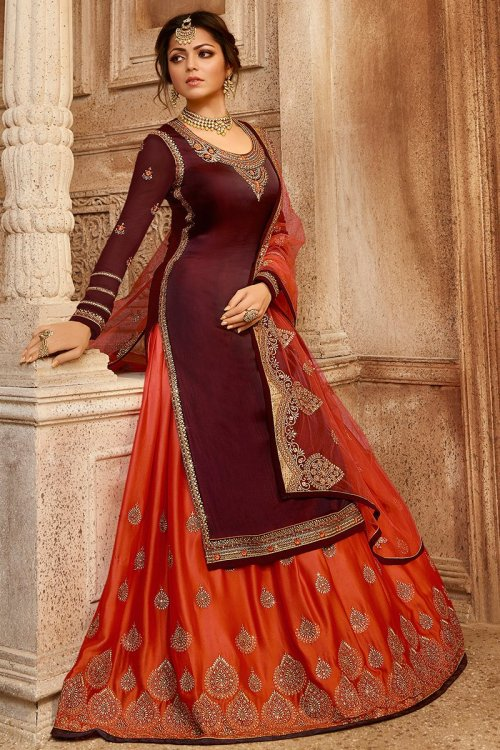 Lehenga Churidar maroon for woman