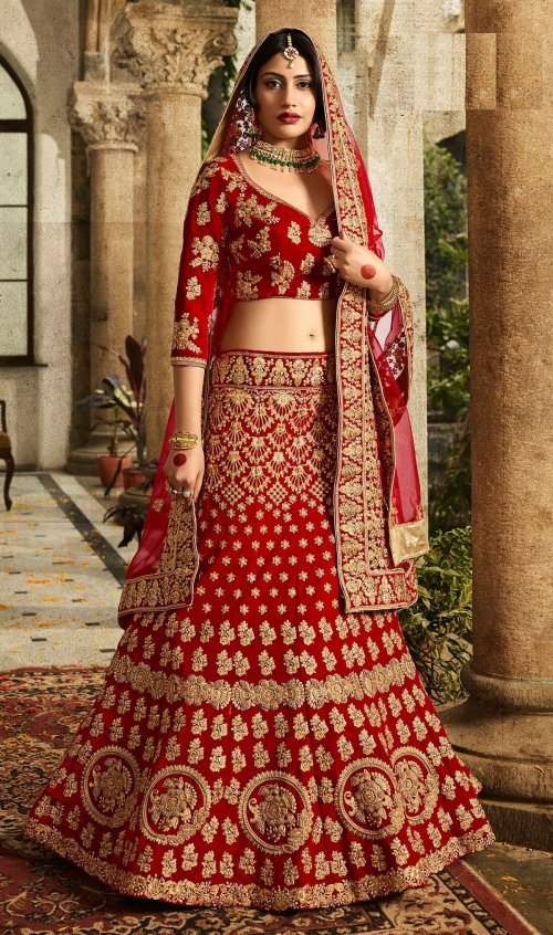 FASHIONABLE RED COLOR DESIGNER with embroidery LEHENGA CHOLI surbhi 029