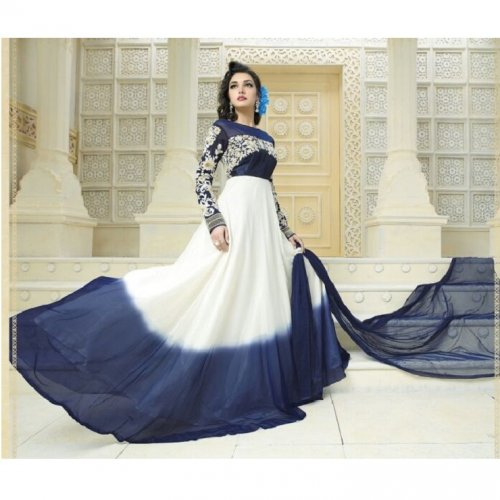 Charming Floral Embroidered Anarkali Suit-Dark Blue & White GRAUN 46D