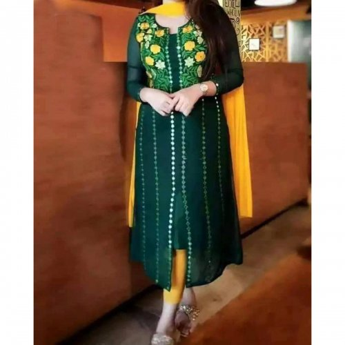 Unstitched embroidery work dark green Color kameez for Women (1 piece)