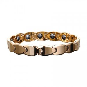 Men's Tungsten Gold Magnetic Therapy Bracelet Link Chain Bangle