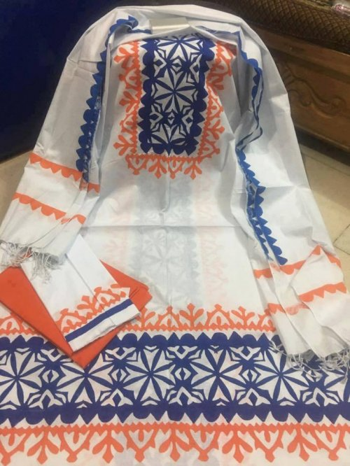 unstiched block printed cotton replica three pcs salwar kameez seblock-544
