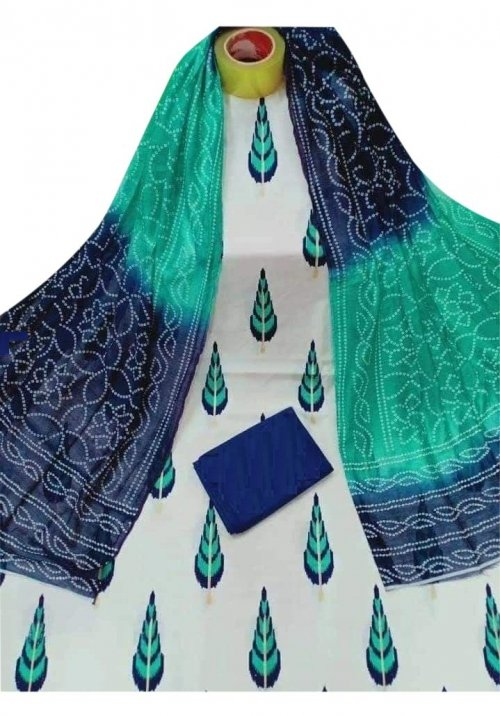 Latest Designed White,Green And Blue High Quality Cotton Salwar Kameez for Women