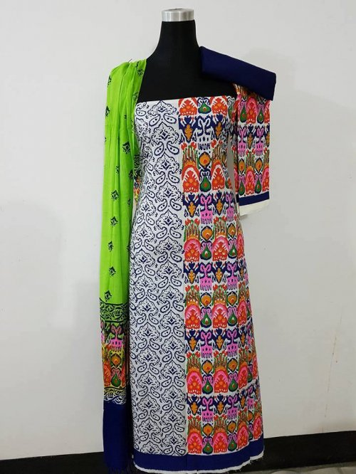 unstiched block printed cotton replica three pcs salwar kameez seblock-552