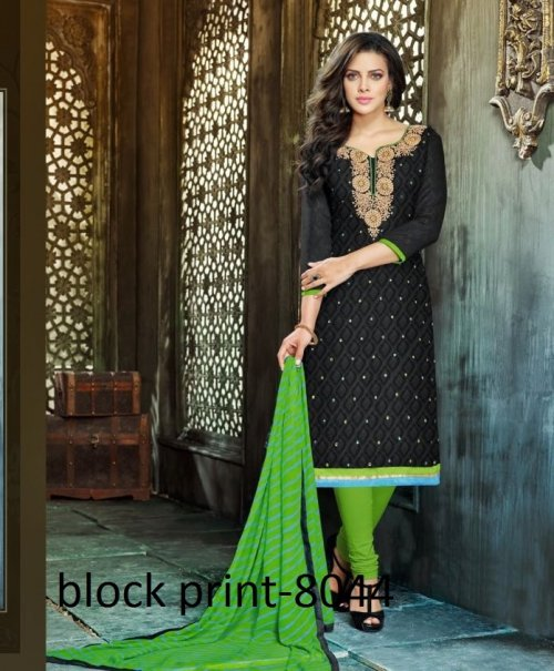 Unstiched block printed cotton replica salwar kameez seblock-8044