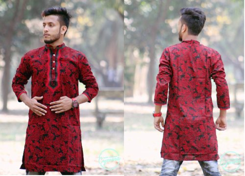 Red and Black Cotton Casual Long Panjabi for Men