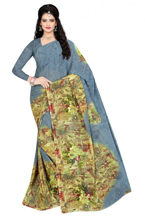Indian Ash Silk Printed saree For women