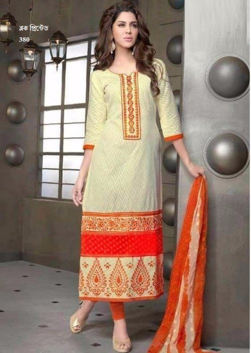 unstiched block printed cotton replica three pcs salwar kameez seblock-380
