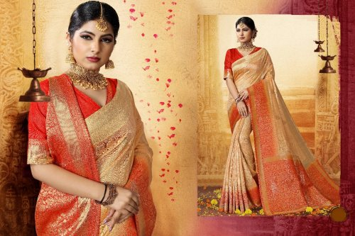 Cream,Orange and Golden Embroidery Work Katan Saree For Women