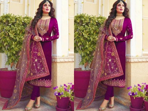 Unstitched Georgette Party Wear Designer Churidar Salwar Suit Purple