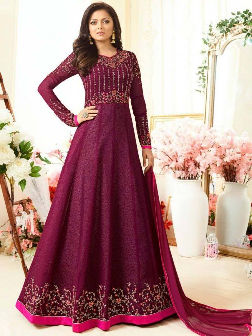 MADHUBALA PURPLE GEORGETTE ANARKALI Suit NITYA-11006