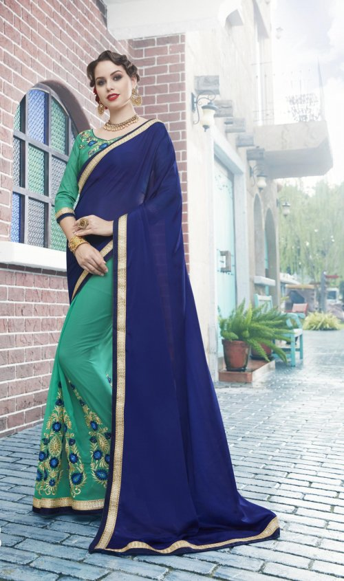 Georgette and embroidery work saree nsc-722