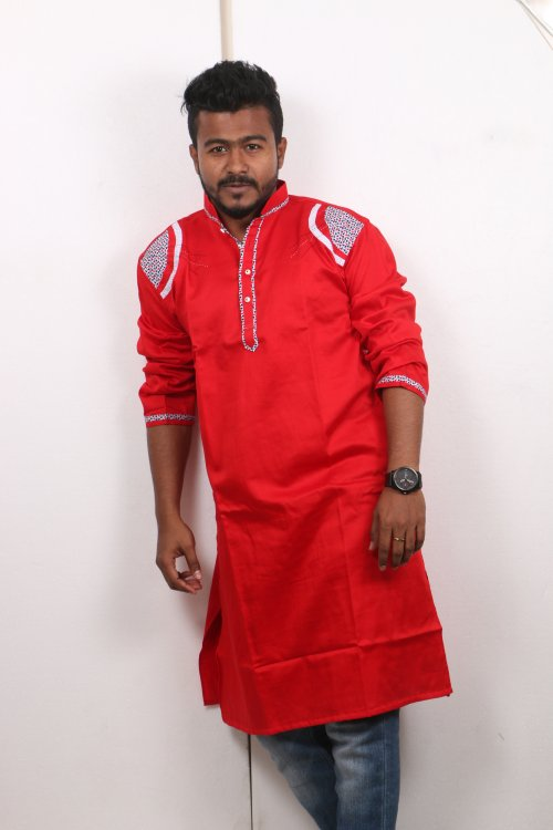 red Cotton Casual Long Panjabi for Men mfz-107