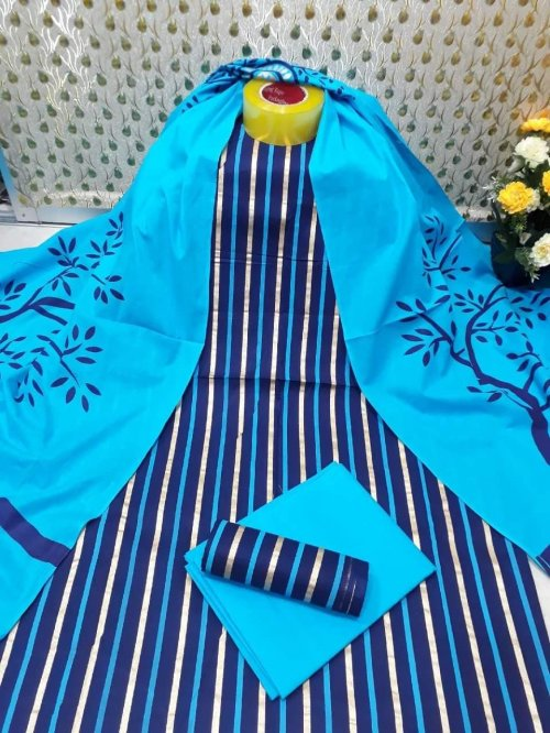 Latest Sky blue and Dark Bue Skin Printed 3 pieces Salwar Kameez for Women