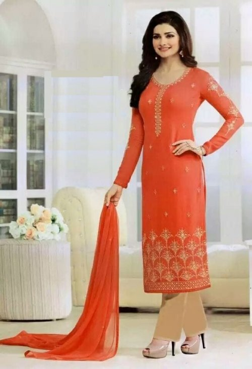 un-stitched georgette with embroidery salwar kameez st-0044