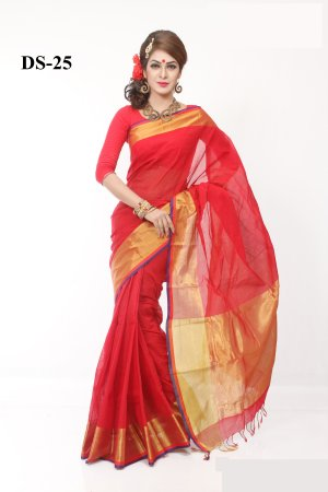 Tat Boishakhi Cotton kota handprint Saree Bois-25
