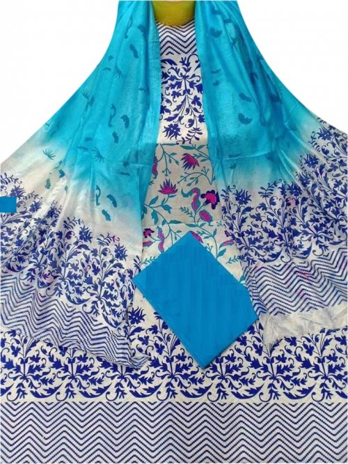 Latest Designed White And Sky Blue High Quality Cotton Salwar Kameez for Women