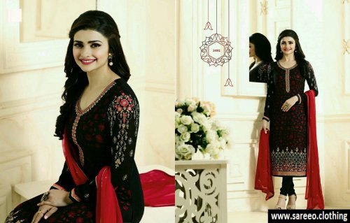 Splendid Black Colored Georgette salwar kameez