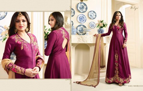 New Drashti Dhami Magenta and Beige Bollywood Salwar Kameez