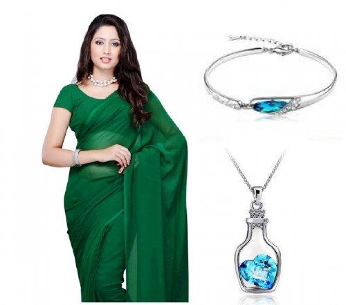 Saree with bracelet and watch locket 3 in 1