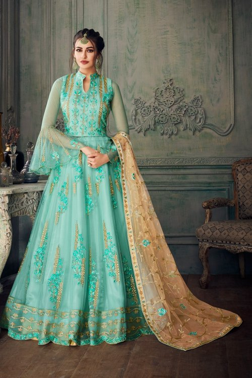 Paste Wedding Floor Length Anarkali Suit For Woman