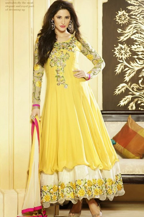 NARGIS FAKHRI EXCITING YELLOW ANARKALI SALWAR SUIT